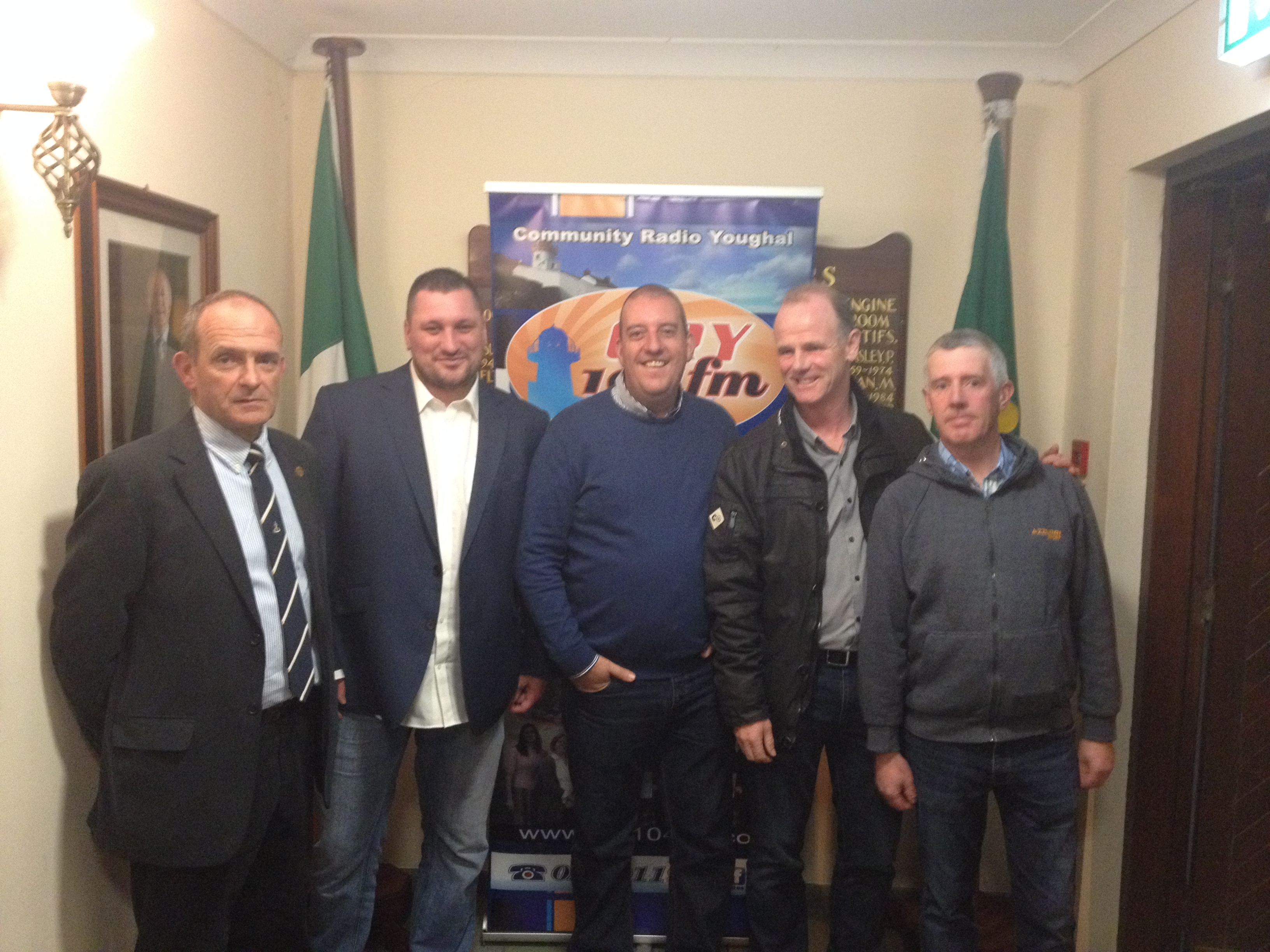 From L-R Commander Cormac Rynne Officer Commanding Shore Operations, Series Producer LS Ron Coveney. LS Alan Cronin. CPO David Hughes PO James McGrath.
